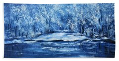 Hand Towel featuring the painting Blue Silence by Vesna Martinjak