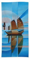 Bath Towel featuring the painting Blue Skies And Cerulean Seas by Tracey Harrington-Simpson