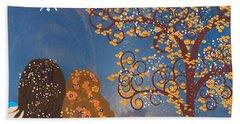Bath Towel featuring the digital art Blue Swirl Girls 2 by Kim Prowse