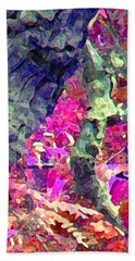 Bath Towel featuring the photograph Blue Tree Pink Leaves by Stephanie Grant