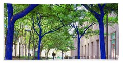 Blue Tree Walkway Hand Towel by Mary Lee Dereske
