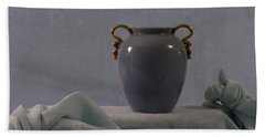 Blue Vase And Damask Hand Towel by Sandra Foster
