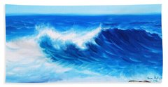 Hand Towel featuring the painting Blue by Vesna Martinjak