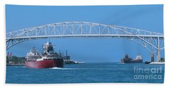 Blue Water Bridge And Freighters Hand Towel