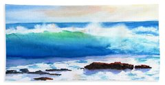 Blue Water Wave Crashing On Rocks Hand Towel
