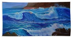 Hand Towel featuring the painting Blue Waves Hawaii by Jenny Lee