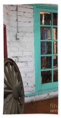 Hand Towel featuring the photograph Blue Window And Wagon Wheel by Dora Sofia Caputo Photographic Art and Design