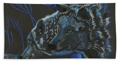 Blue Wolves Hand Towel by Mayhem Mediums