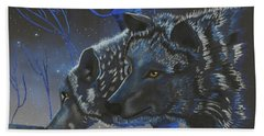 Blue Wolves With Stars Hand Towel by Mayhem Mediums