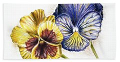 Blue Yellow Pansies Bath Towel