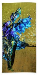Bath Towel featuring the mixed media Bluebells In Water Splash by Peter v Quenter
