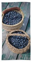 Blueberry Baskets Hand Towel by Edward Fielding