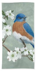 Bath Towel featuring the painting Bluebird And Dogwood by Fran Brooks