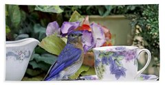 Bluebird And Tea Cups Hand Towel by Luana K Perez