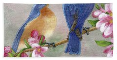 Hand Towel featuring the painting Bluebird Love by Fran Brooks