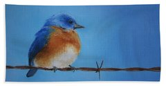 Bluebird On A Wire Bath Towel by Marna Edwards Flavell