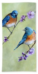 Bluebirds And Blossoms Bath Towel