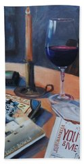 Blues And Wine Hand Towel by Donna Tuten