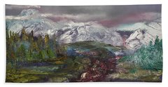 Bath Towel featuring the painting Blurred Mountain by Jan Dappen