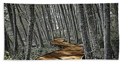 Bath Towel featuring the digital art Boardwalk In The Woods by Richard Farrington