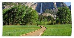 Boardwalk To Yosemite Falls  Hand Towel