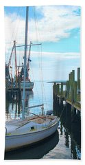 Boat At Dock By Jan Marvin Bath Towel