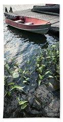 Boat At Dock On Lake Hand Towel
