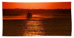 Boat At Sunset Bath Towel