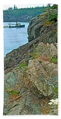 Boat By East Quoddy Bay On Campobello Island-nb Bath Towel