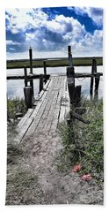 Boat Dock With Gulls Hand Towel by Patricia Greer