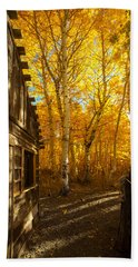 Boat House Among The Autumn Leaves  Bath Towel by Jerry Cowart