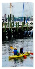Boat - Kayaking In Newport Ri Hand Towel