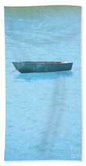 Boat On Blue Lake Hand Towel