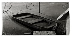 Boat In Ice - Lake Wingra - Madison - Wi Hand Towel