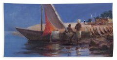 Boat Yard, Kilifi, 2012 Acrylic On Canvas Hand Towel