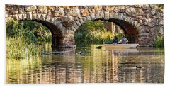 Boaters Under The Bridge Bath Towel