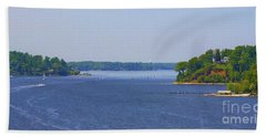 Boating On The Severn River Hand Towel