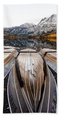 Boats At Mountain Lake In Autumn Fine Art Photograph Print Bath Towel by Jerry Cowart