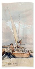 Boats At Quayside Lake Geneva Hand Towel