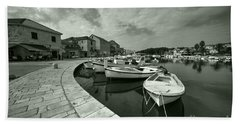 Boats At Stari Grad  Hand Towel