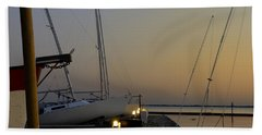 Boats Moored To Pier At Sunset Bath Towel by Charles Beeler