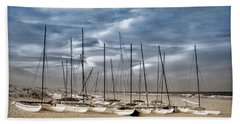 Boats On Beach In Duo-tone Hand Towel