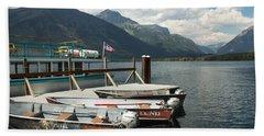 Boats On Lake Mcdonald Hand Towel