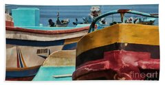 Boats On The Beach - Puerto Lopez - Ecuador Bath Towel