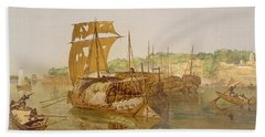 Boats On The Ganges, From India Ancient Bath Towel