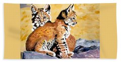 Hand Towel featuring the painting Bob Kittens by Phyllis Kaltenbach