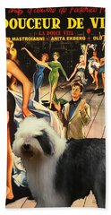 Bobtail -  Old English Sheepdog Art Canvas Print - La Dolce Vita Movie Poster Hand Towel