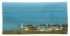 Boca Chita Lighthouse And Miami Skyline Hand Towel