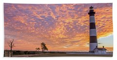 Bodie Island Lighthouse At Sunrise Bath Towel by Photographic Arts And Design Studio