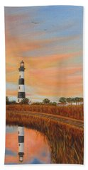 Bath Towel featuring the painting Bodie Island Lighthouse by Fran Brooks